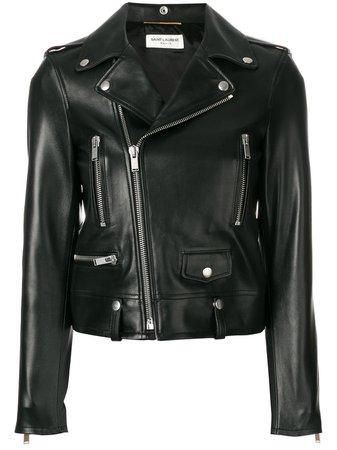 Saint Laurent zip-up leather biker jacket - FARFETCH