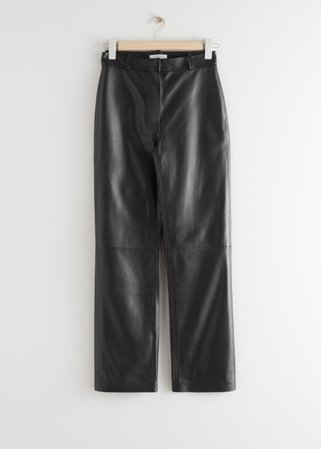Kick Flare Leather Trousers - Black - Leather Trousers - & Other Stories