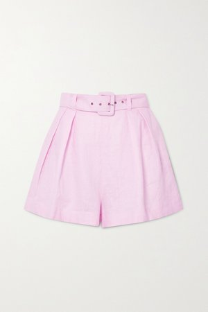 Pastel pink Priscilla belted linen shorts
