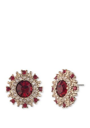 Marchesa Gold-Tone Red Round Button Earrings