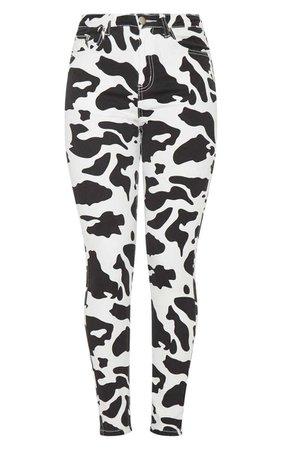 Cow Print 5 Pocket Skinny Jean | Denim | PrettyLittleThing USA