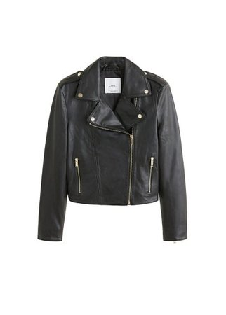 MANGO Lapelled leather biker jacket