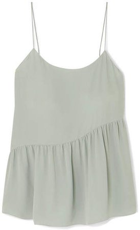 Pleated Silk-crepe Camisole - Green