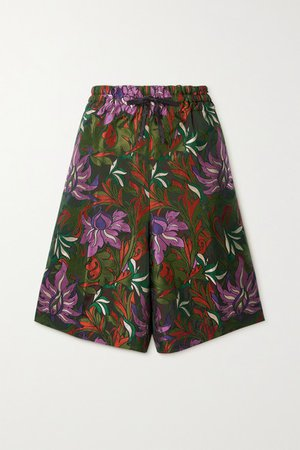 Floral-jacquard Shorts - Army green