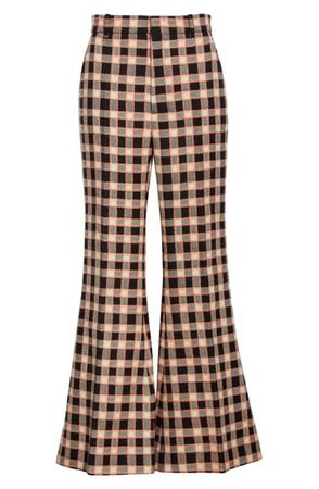 Gucci Plaid Wool Flare Trousers | Nordstrom