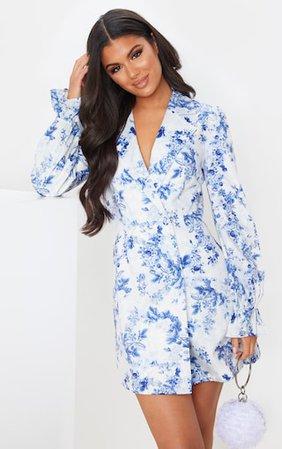 Blue Floral Print Frill Cuff Blazer Dress | PrettyLittleThing