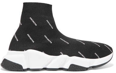 Speed Logo-printed Stretch-knit High-top Sneakers - Black