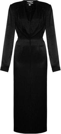 MATERIEL Draped Satin Tie-Neck Midi Dress