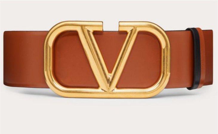 valentino v ring belt brown