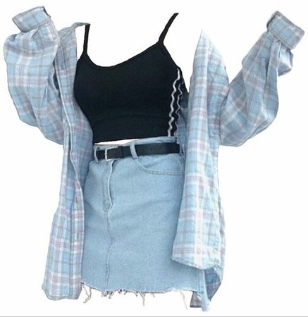 Black Tank Top, Light Blue Flannel & Light Blue Denim Skirt (png)