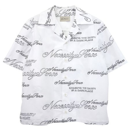 Necessity Sense VACAY CROPPED LOOSE SHIRT / ANGEL WHITE BLACK EMBROIDERY