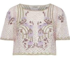 Antila Cropped Embroidered Cotton-blend Lace Top
