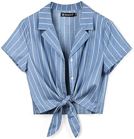 Allegra K Women's Button Down Chambray Stripe Crop Shirts Tie Front Short Sleeve Casual Summer Tops at Amazon Women's Clothing store