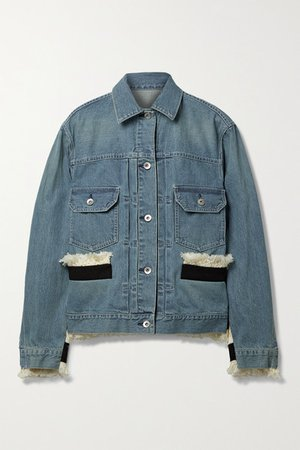 Fringed Canvas-trimmed Tweed And Denim Jacket - Light denim