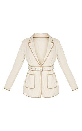 Stone Linen Belted Blazer | Coats & Jackets | PrettyLittleThing