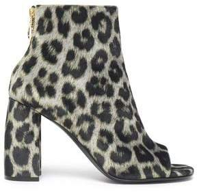 Leopard-print Faux Leather Ankle Boots