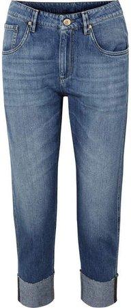 Bead-embellished Cropped Slim Boyfriend Jeans - Blue