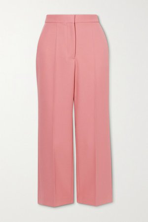 Carlie Cropped Twill Flared Pants - Pink