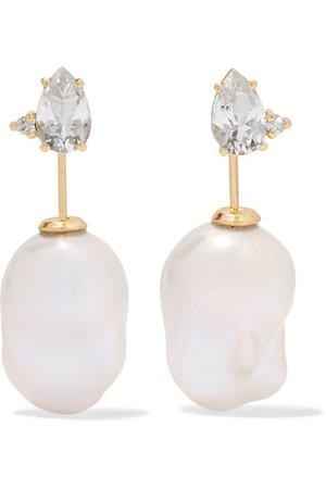 Mizuki   14-karat gold, pearl and diamond earrings   NET-A-PORTER.COM