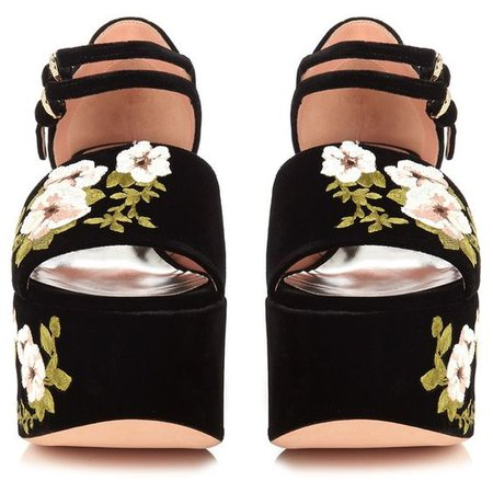 Floral-embroidered velvet platform sandals Rochas MATCHESFASHION.COM ($845)