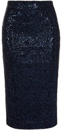 Andree Sequined Lurex Skirt - Navy