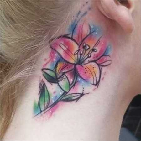 watercolour lily tattoo