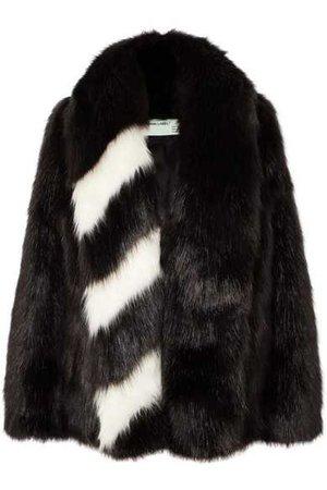 Off-White | Oversized striped faux fur jacket | NET-A-PORTER.COM
