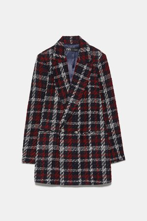 PLAID DOUBLE BREASTED BLAZER - NEW IN-WOMAN | ZARA United States red black