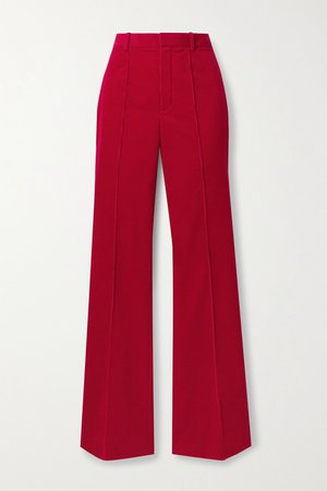 Brick Cotton-corduroy flared pants   SAINT LAURENT   NET-A-PORTER