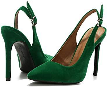 Amazon.com   LIURUIJIA Womens Pointy-Toe Stiletto High Heels Dress Pumps Velvet Green-40 (250/US8)   Pumps
