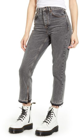 Split Hem Slim Straight Leg Jeans