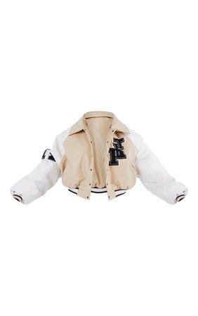 Beige Pu Raglan Sleeve Crop Varsity Bomber Jacket   PrettyLittleThing USA