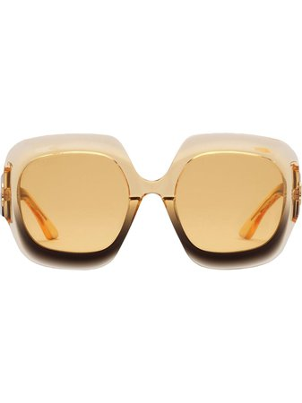 Shop yellow & black Gucci Eyewear ombré-effect oversized-frame sunglasses with Express Delivery - Farfetch
