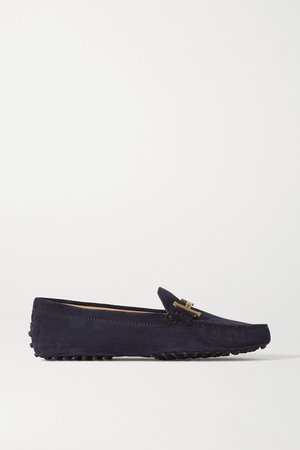 Gommino Doppia Embellished Suede Loafers - Navy