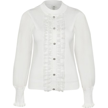Cream frill embellished knit blouse top | River Island