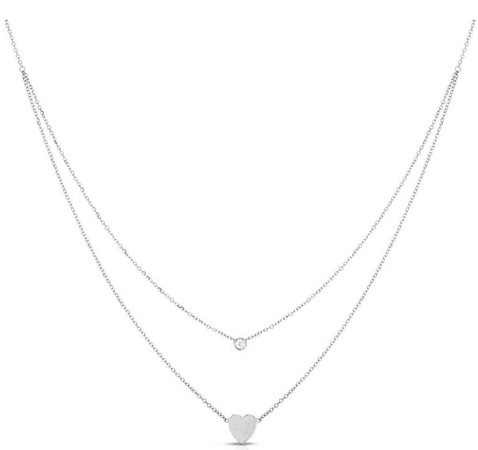 silver heart double chain necklace