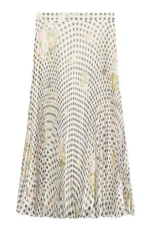 Gingham Organza Pleated Silk Skirt Gr. IT 42