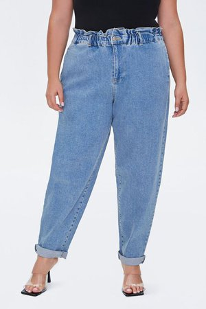 Plus Size Paperbag Ankle Jeans