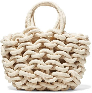 Woven Cotton Bucket Bag - White