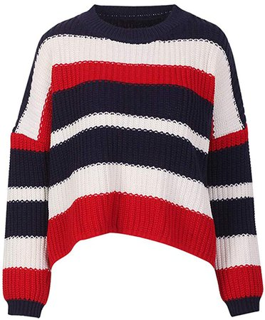 HelloTem Contrast Striped Sweater for Women Multi Color Block Long Sleeve Loose Casual Pullover Warm Knit Crop Top (Red, L) at Amazon Women's Clothing store