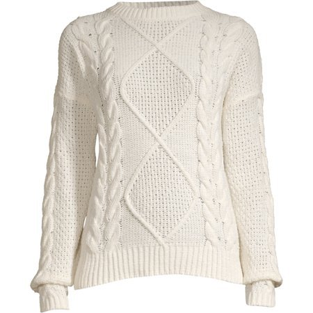 Time and Tru - Time and Tru Cableknit Chenille Sweater Women's - Walmart.com white