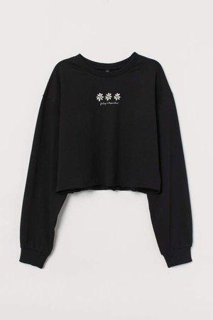 Cropped Sweatshirt - Black