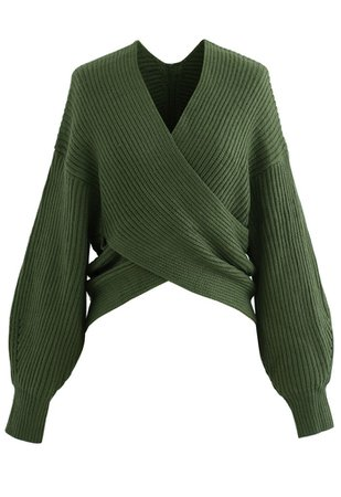 Crisscross Ribbed Knit Crop Sweater in Army Green - Retro, Indie and Unique Fashion