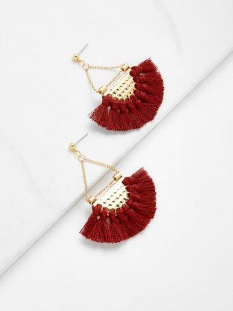 Mini Tassel Fan Shaped Earrings