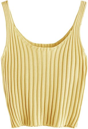SweatyRocks Women's Ribbed Knit Crop Tank Top Spaghetti Strap Camisole Vest Tops Yellow L at Amazon Women's Clothing store