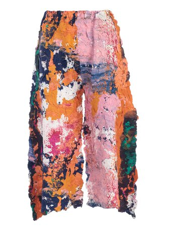 Issey Miyake Cropped Painted Trousers
