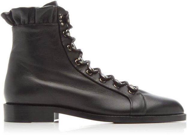 Brock Collection Leather Ruffled Combat Boots