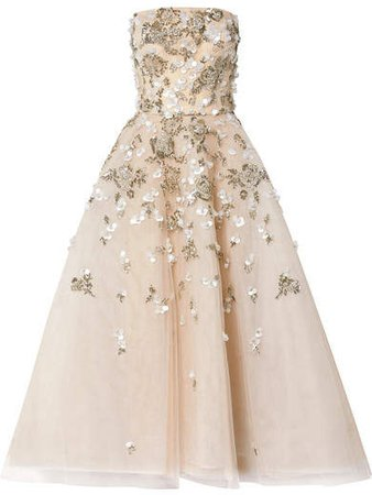 Reem Acra - Embellished Tulle Gown - Silver