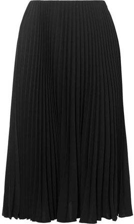 Pleated Silk Midi Skirt - Black