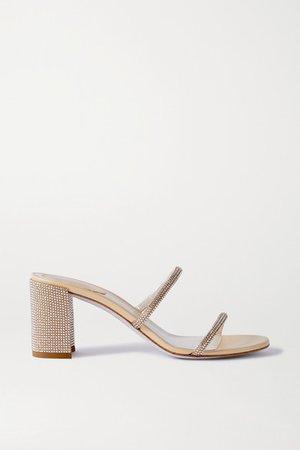 Bessie Crystal-embellished Metallic Leather Sandals - Neutral